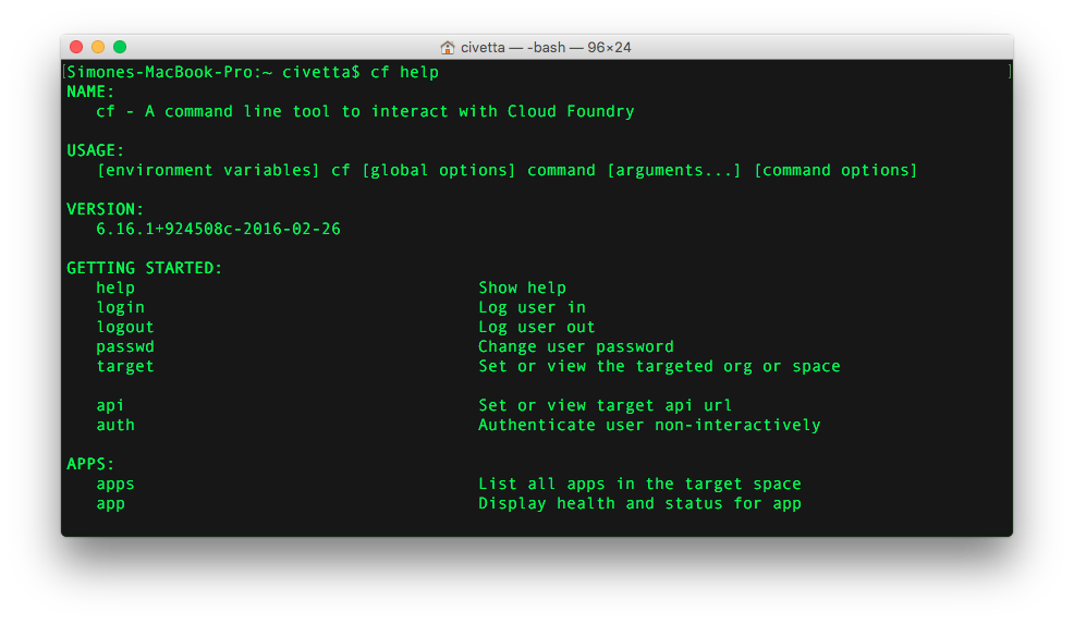 Bluemix, outils Cloud Foundery